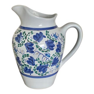 Vintage Henriot Quimper French Studio Pottery Blue and White Pitcher For Sale