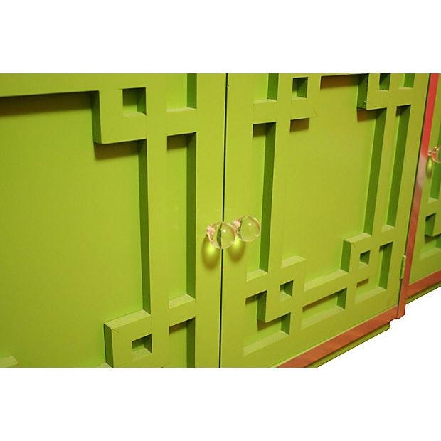 Green Thomasville Fretwork Cabinets - Set of 3 - Image 6 of 7