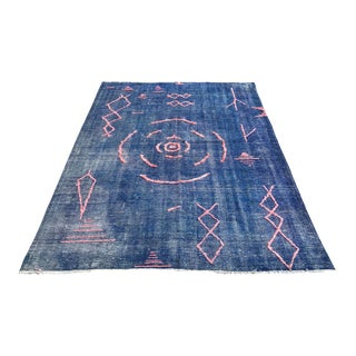 Oversize Handkontted Vintage Floor Rug - 6′11″ × 9′10″ For Sale