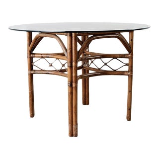 Brown Jordan Bamboo Rattan Glass Dining Table For Sale