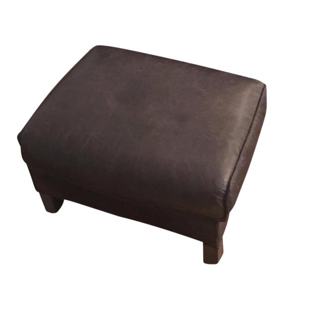Bram Smoke Leather Ottoman From Room & Board - Image 1 of 3