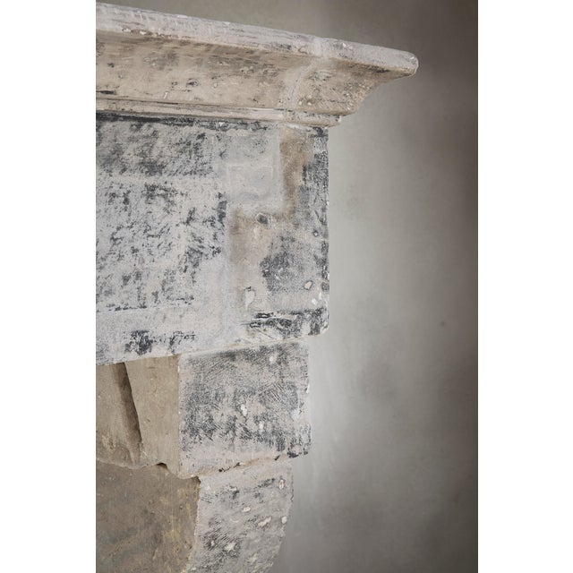 Antique Limestone Fireplace of French Limestone, Campagnarde Style For Sale - Image 4 of 9
