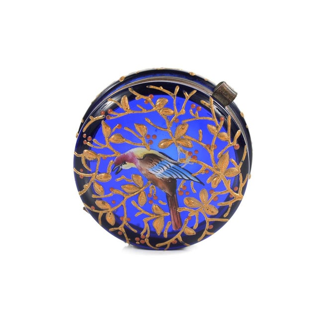 Cobalt Blue Glass Painted Antique Pill Box - Image 2 of 9