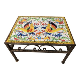 Persian Colorful Mosaic Wrought Iron Side Table For Sale
