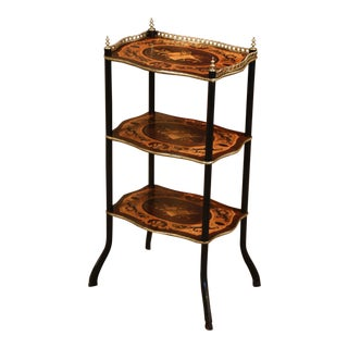 19th Century French Napoleon III Blackened, Marquetry and Brass Étagère Table For Sale