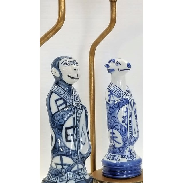 White Pair of Vintage Chinese Zodiac Porcelain Figurine Lamps - Asian Chinoiserie Palm Beach Boho Chic Mid Century Bedside For Sale - Image 8 of 13