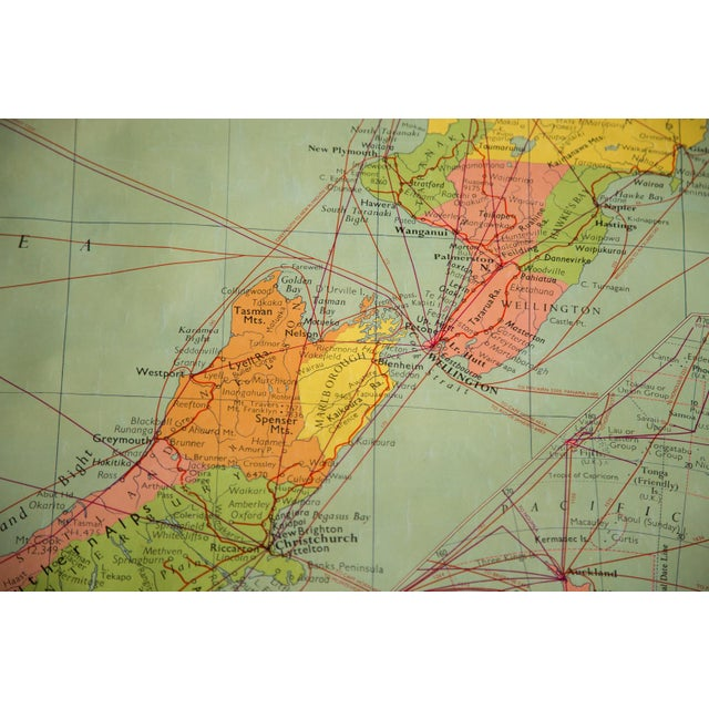 1960s Vintage New Zealand Pull Down Map - Image 8 of 8