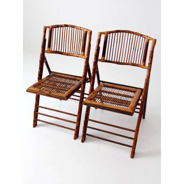 Asian Vintage Bamboo Folding Chairs - a Pair For Sale - Image 3 of 10
