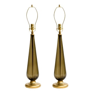 Italian 1970s Smoke Glass and Brass Lamps - a Pair For Sale