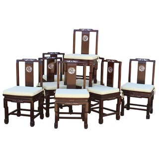 Chinese Rosewood Mother of Pearl Chairs - Set of 8 For Sale