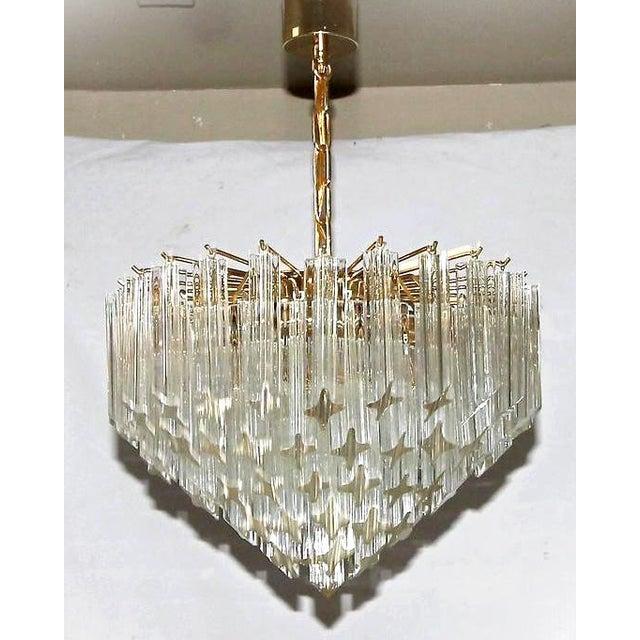 Italian 1970s Italian Quatro Punta Crystal Prism Chandelier For Sale - Image 3 of 10