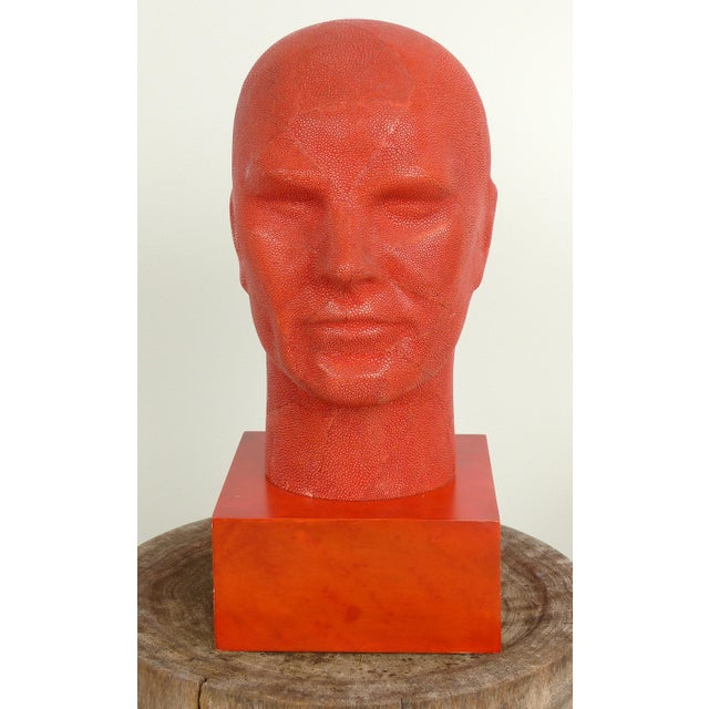 Offered for sale is a signed authentic Serge de Troyer shagreen head sculpture. The sculpture is viewed from all angles...