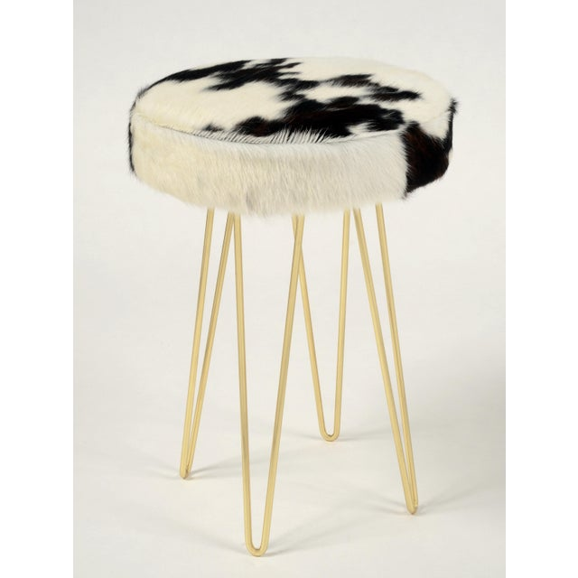 Modern Brass Tri-Color Cloud Hairpin Counter Stool For Sale - Image 3 of 3