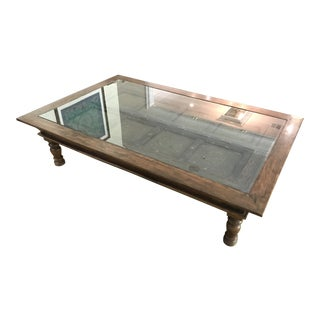 Vintage Oversized Carved Wood Coffee Table For Sale