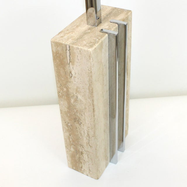 1960s Raymor Marble and Chrome Skyscraper Lamp - Image 5 of 10