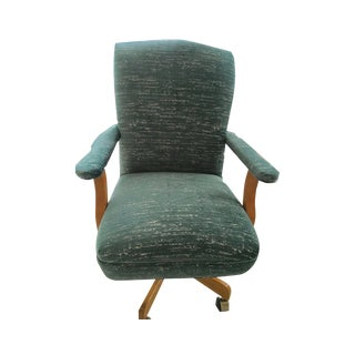 Vintage Upholstered Teal and White Executive Office Chair