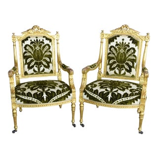 Early 1900s Italian Giltwood & Velvet Armchairs - Set of Two For Sale