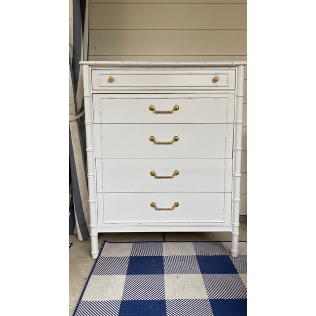 1960s Vintage Thomasville Faux Bamboo Highboy For Sale - Image 10 of 12