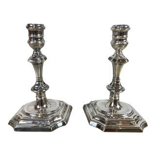 Silver Plated Queen Anne Style Candlesticks - A Pair For Sale