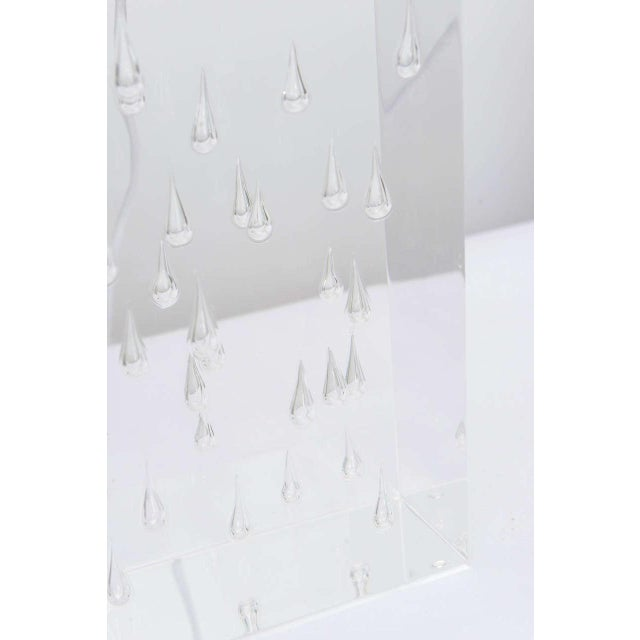 Pair of Rare Thick and Lucite Block with Raindrop Lamps For Sale - Image 9 of 11