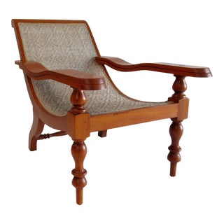 Vintage Mid Century British Colonial Teak and Cane Planters Chair With Pivot Arms For Sale