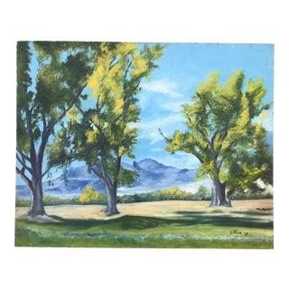 Vintage Acrylic Landscape Painting, 1960s For Sale