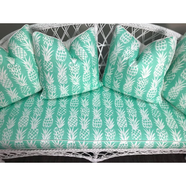 Vintage Wicker Loveseat in White Lacquer With Cushion Pillows in Aqua Pineapple For Sale In West Palm - Image 6 of 7