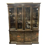 Image of Chinoiserie Drexel China Cabinet With a Hand Painted Scene For Sale