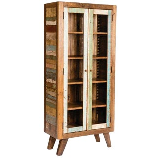 Mid-Century Modern Reclaimed Wood Bookcase Display Cabinet