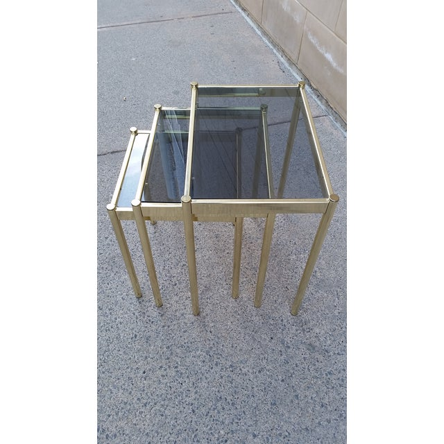 Hollywood Regency Brass & Smoke Glass Nesting Tables - Set of 3 - Image 5 of 9
