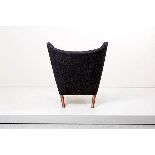 Hans J. Wegner Papa Bear Chair in Black Fabric For Sale - Image 6 of 10