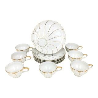 Vintage Japanese Porcelain Tea Cup & Dessert Plates - Set of 7