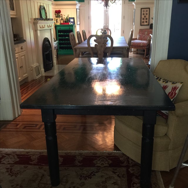 Black Lacquered Solid Oak Dining Table - Image 3 of 5