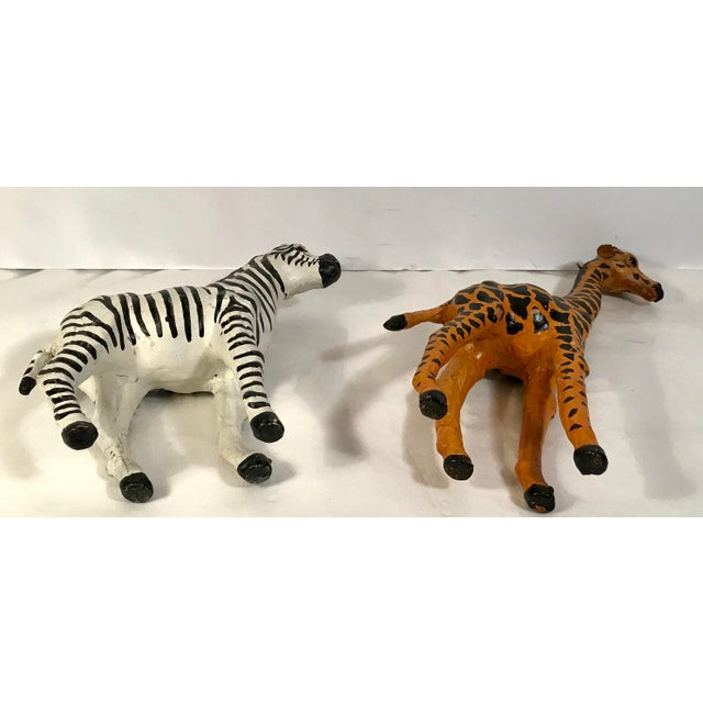 adb36bf7d0 Paper Vintage Paper Mache Giraffe and Zebra Figurines - a Pair For Sale -  Image 7