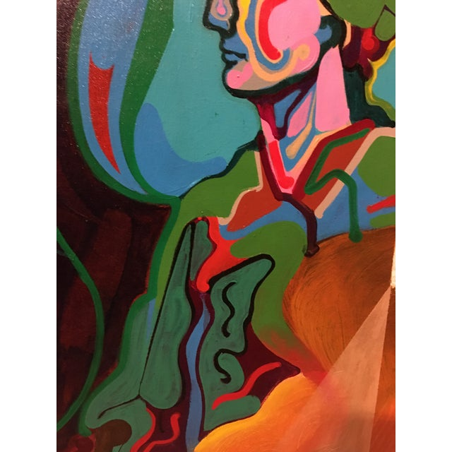 Canvas Vintage Mid-Century Colorful Figurative Abstract Oil on Canvas Portrait Painting For Sale - Image 7 of 12