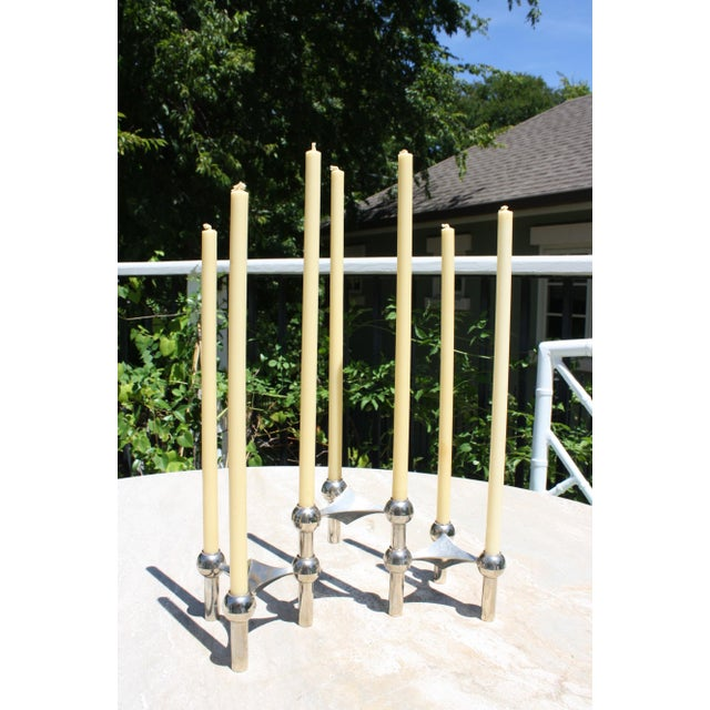 All Original Boxed Set of Mid-Century Nagel & Stoffi Modular Candleholders With Candles For Sale - Image 12 of 12