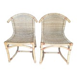 Image of Pair of Bamboo Side Chairs 1940's For Sale