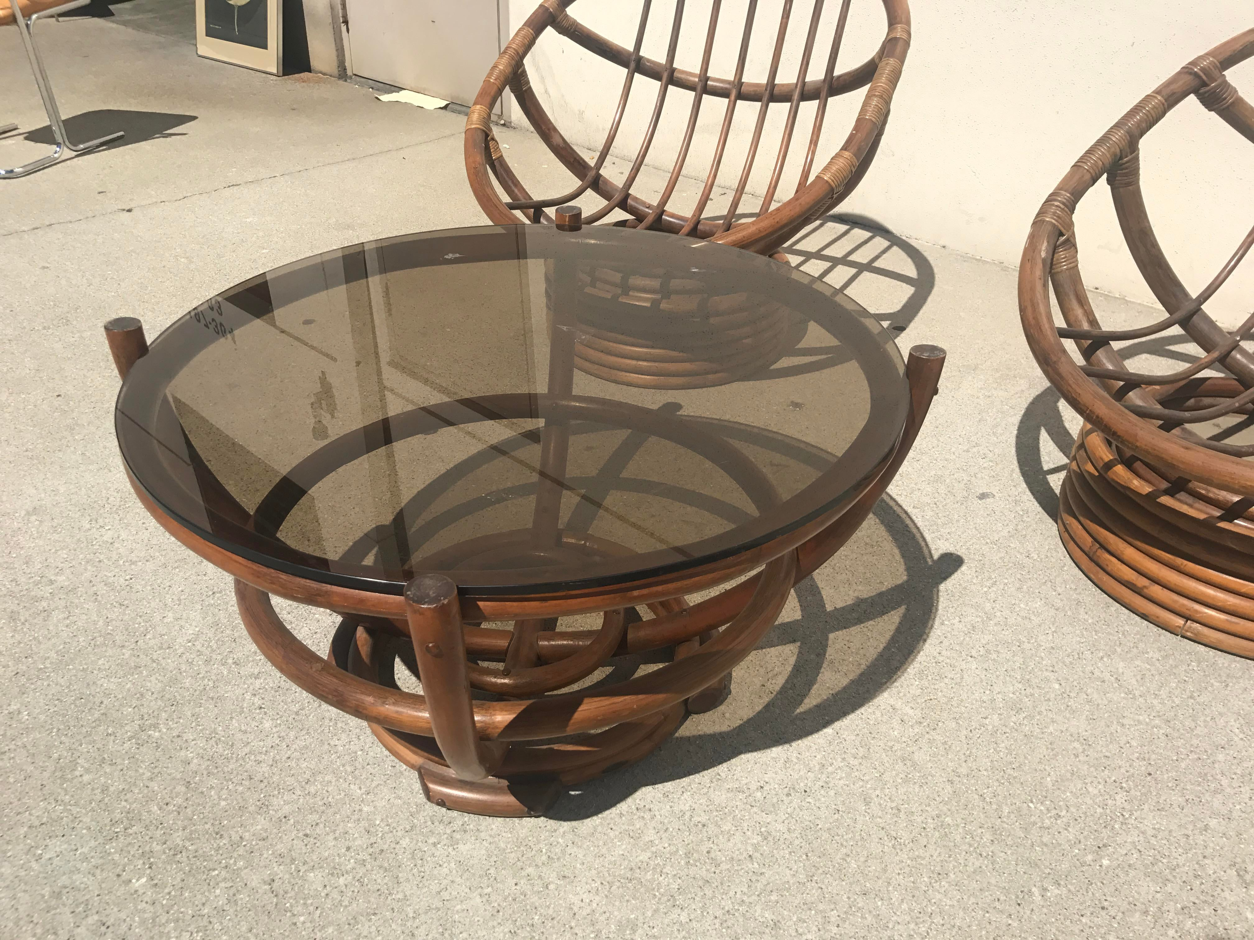 Vintage 60s Rattan Papasan Swivel Rocking Chairs U0026 Table   Set Of 3 For  Sale