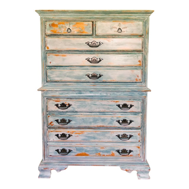 Distressed Coastal Solid Maple Tallboy/Dresser/Chest of Drawers For Sale