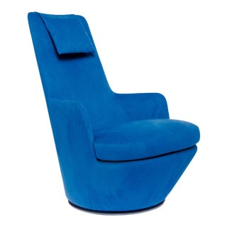 Bensen Blue Ultra Suede High Back Swivel Chair For Sale