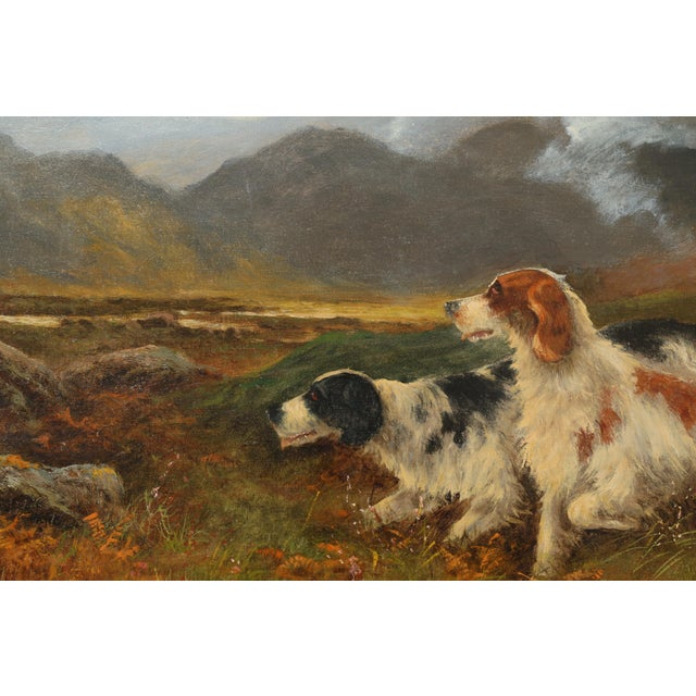 English Antique Sporting Dogs Oil Painting, Robert Cleminson (Active 1864-1903) For Sale - Image 3 of 9