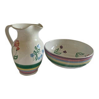 Vintage Italian Pastel Flowers and Stripes Bowl and Pitcher Set - a Pair For Sale
