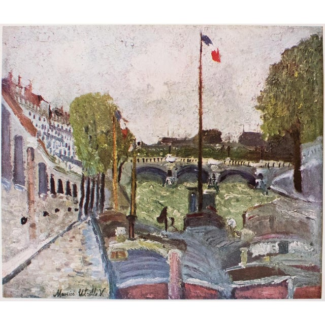 """A lovely vintage lithograph after painting """"Pont Neuf"""" (circa 1908), the heart of Paris, by French artist Maurice Utrillo..."""