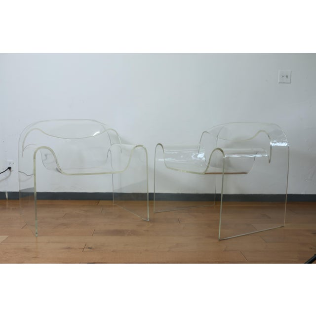 Vintage Pair of Lucite Ribbon Style Lounge Chairs For Sale - Image 4 of 13