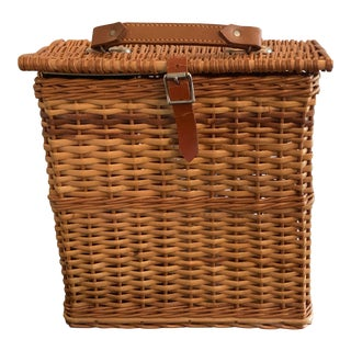 1920s Abercrombie and Fitch Picnic Basket With Sandwich Tin and Thermos For Sale