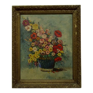 "W. De. Boer Framed ""Flower Arrangement"" Original Painting on Canvas"