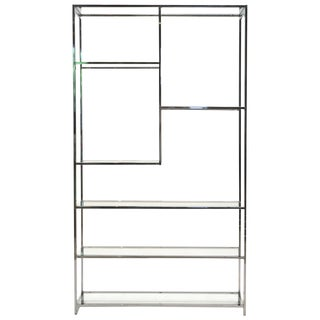 Milo Baughman Chrome and Glass Étagère or Shelving or Display For Sale