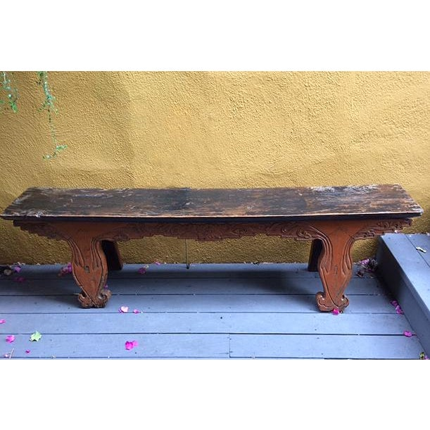 Antique Chinese Wooden Bench For Sale - Image 11 of 11