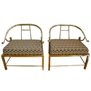 1960s Asian Empress Style Mastercraft Brass Armchairs - a Pair