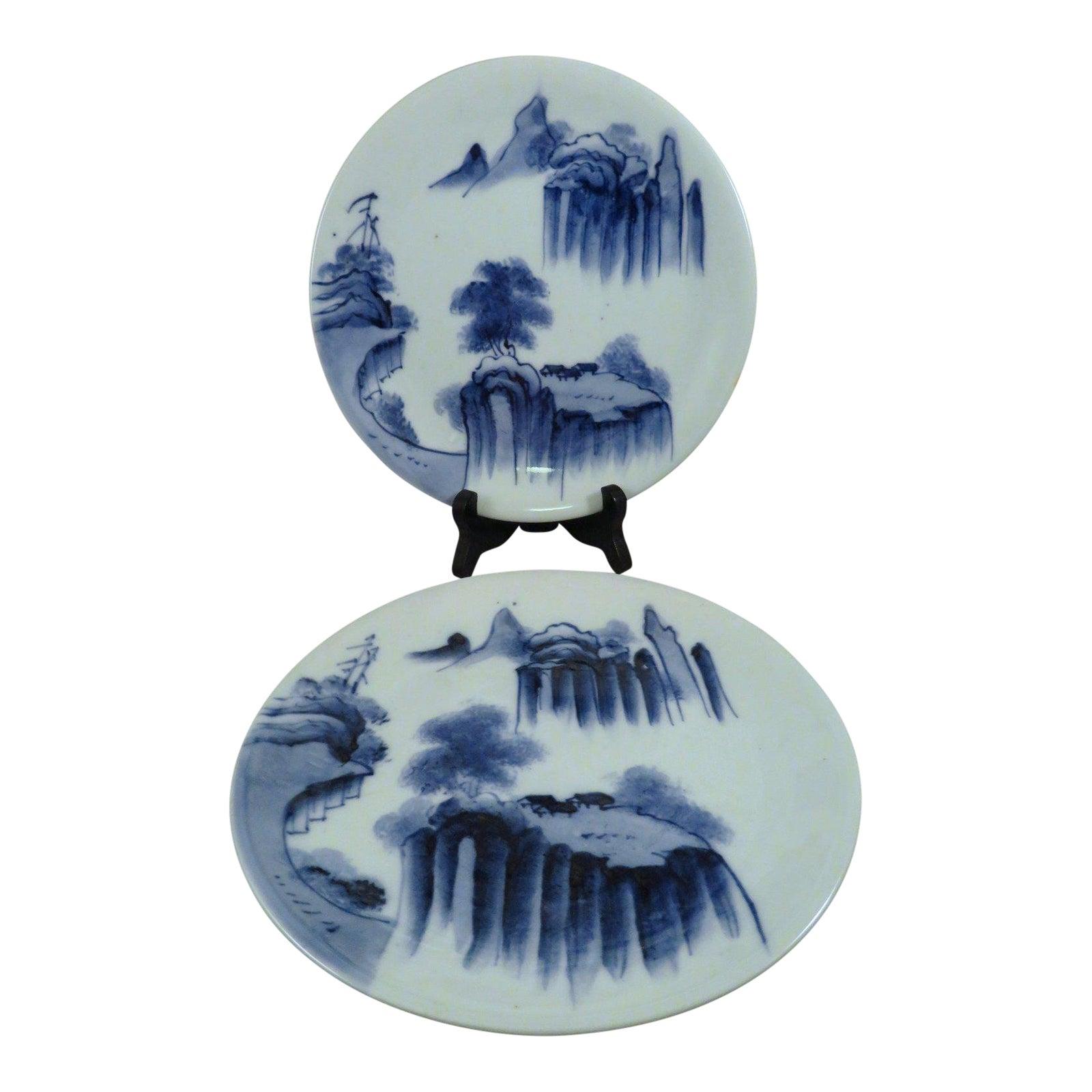 Antique Asian Blue & White Scenic Porcelain Plates - a Pair | Chairish